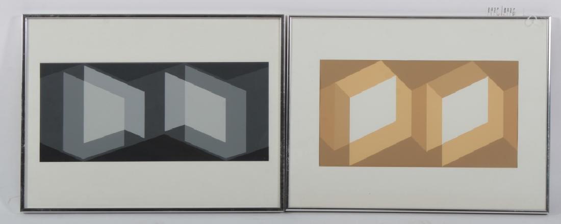 Albers, 2 Silkscreens, Grey/Yellow Geometric