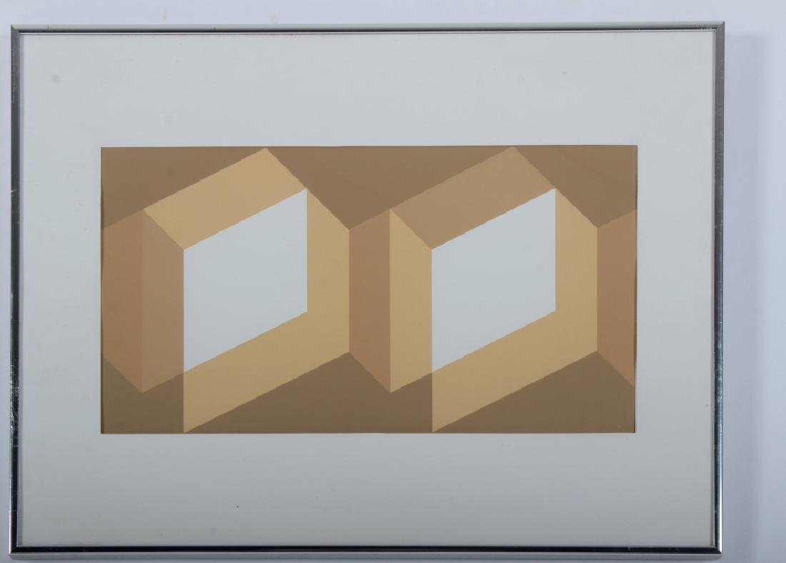 Albers, 2 Silkscreens, Grey/Yellow Geometric - 3