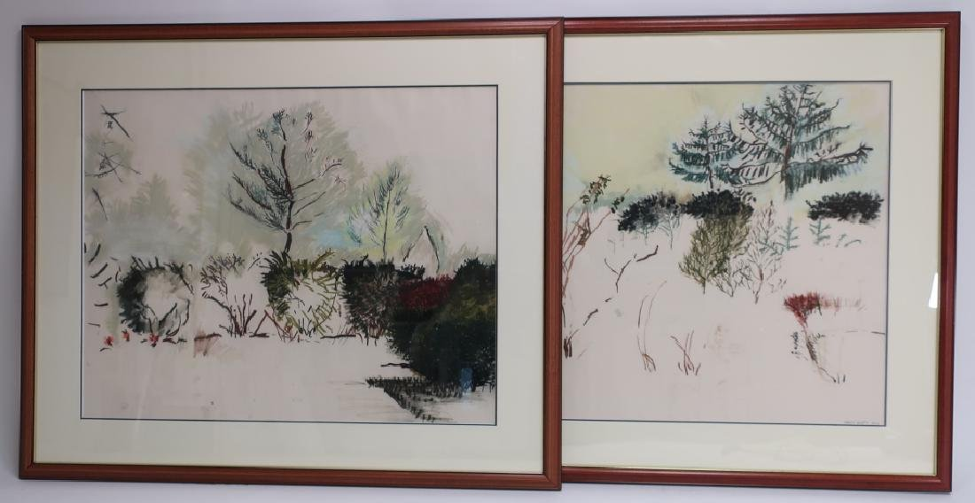 2 Nancy Brett, Landscapes, Pastel/ Paper, 20th c.