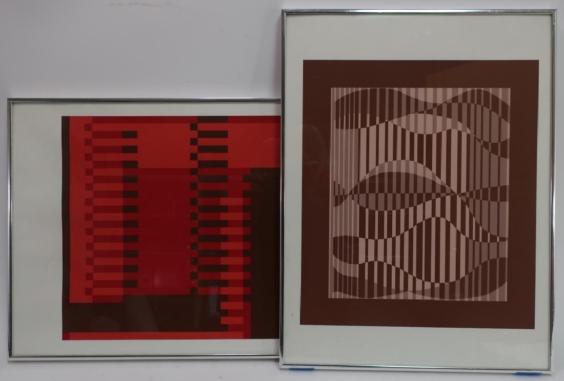 Albers, 2 Silkscreens, Red/Brown Geometric Forms - 3