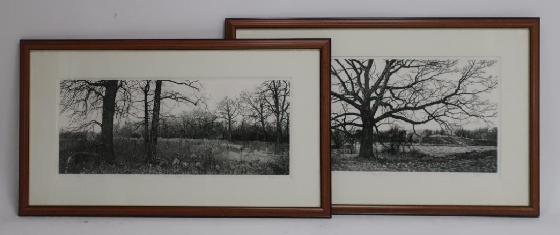 2 Barbara Pihos Oak & Prairie Etchings 20th c