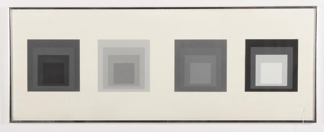 Albers, Diptych Silkscreen, 4 Grey/Black Squares