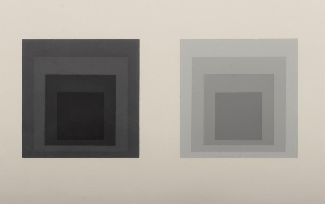 Albers, Diptych Silkscreen, 4 Grey/Black Squares - 2