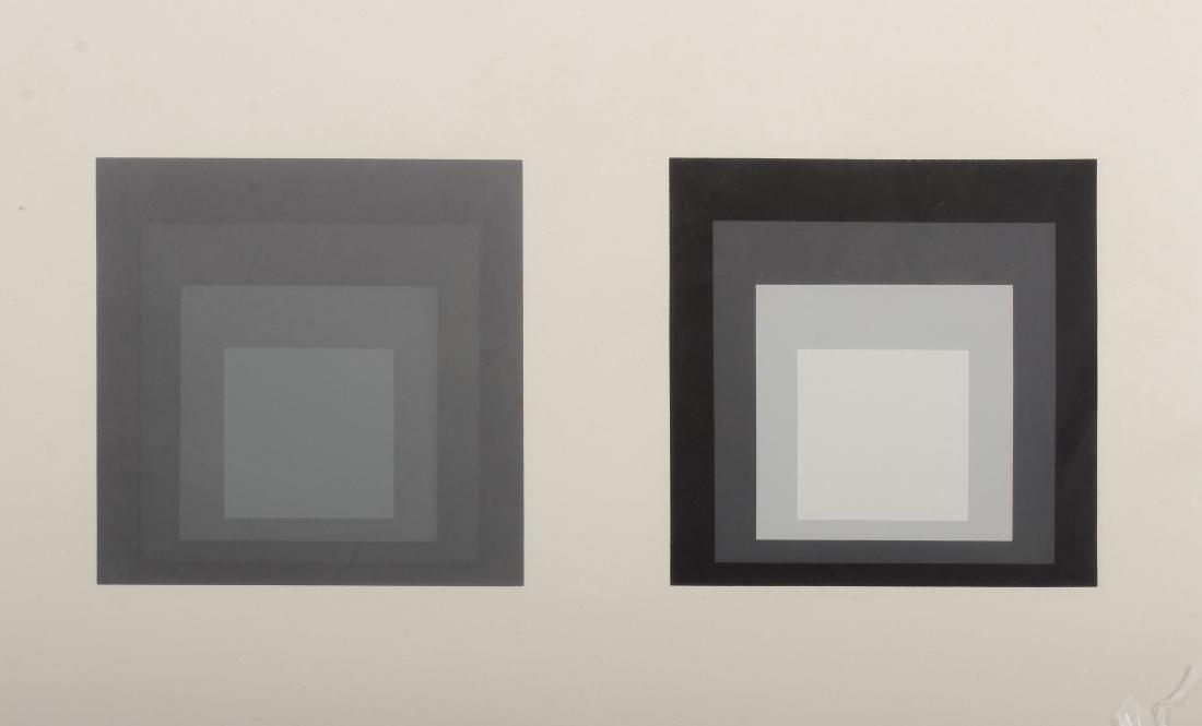 Albers, Diptych Silkscreen, 4 Grey/Black Squares - 3