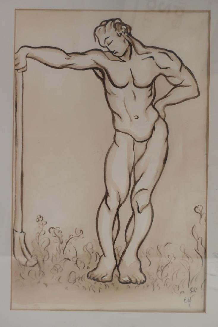 Richard Ely 1928-2009 Pair of Male Nudes, Ink Wash
