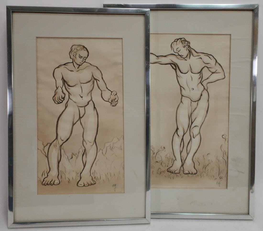 Richard Ely 1928-2009 Pair of Male Nudes, Ink Wash - 2
