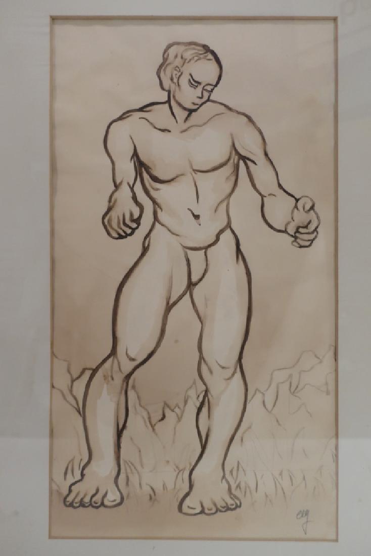 Richard Ely 1928-2009 Pair of Male Nudes, Ink Wash - 3