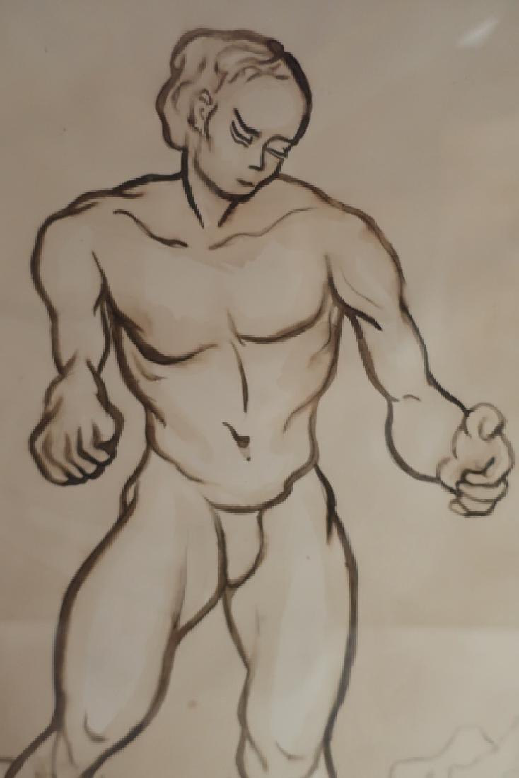 Richard Ely 1928-2009 Pair of Male Nudes, Ink Wash - 4