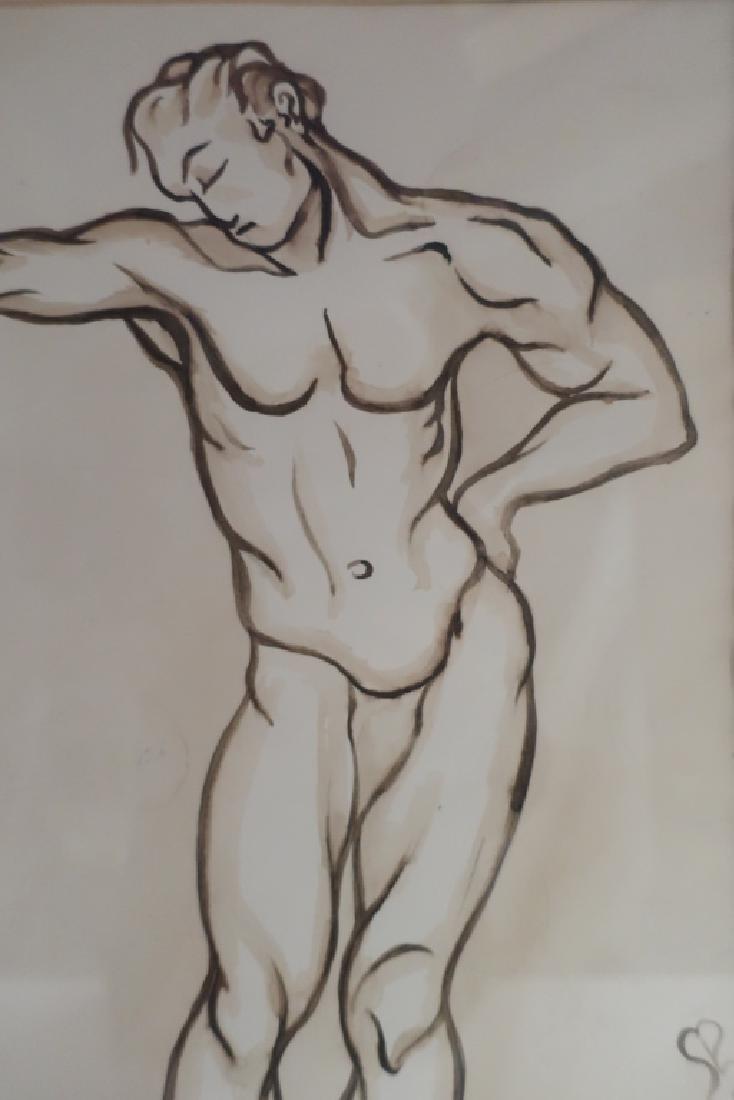 Richard Ely 1928-2009 Pair of Male Nudes, Ink Wash - 5