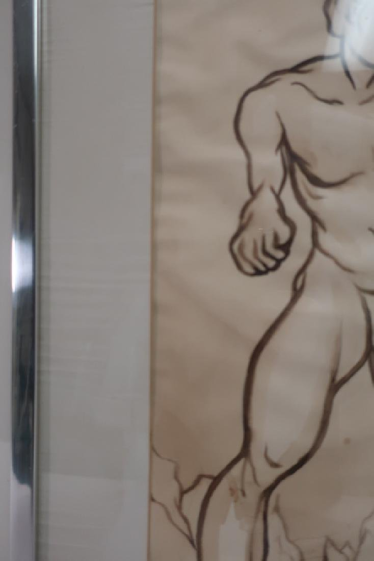 Richard Ely 1928-2009 Pair of Male Nudes, Ink Wash - 7