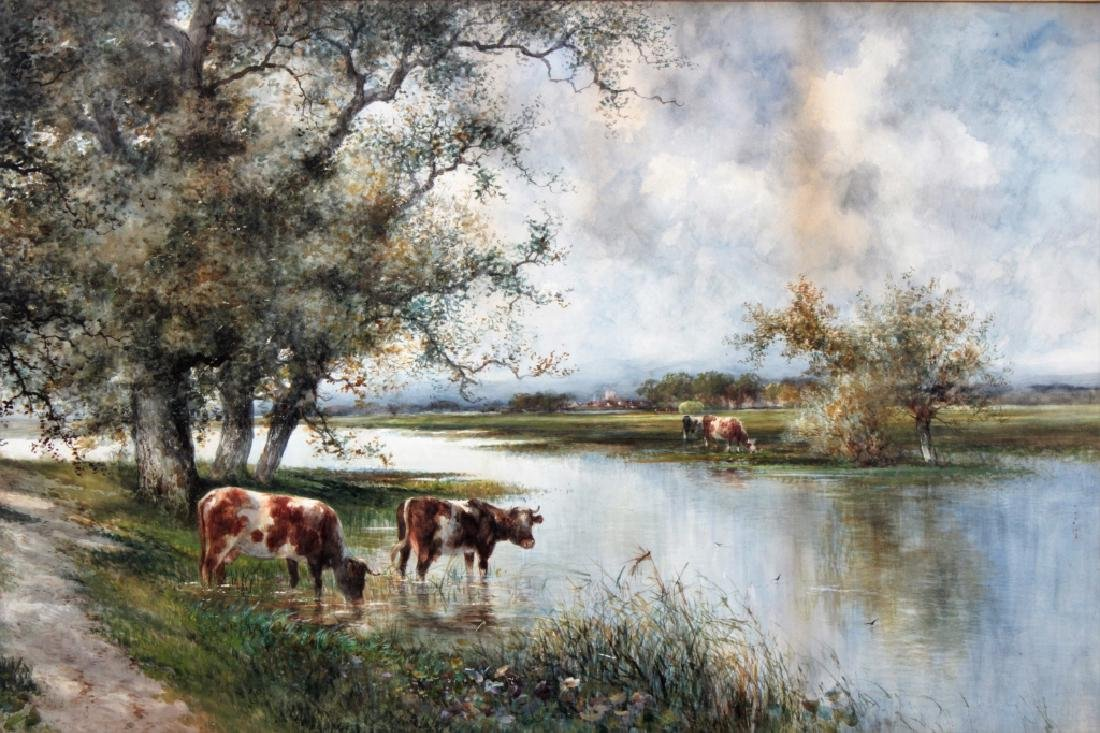 Stewart Forbes, c. 1900, Cows in Stream, Large W/C