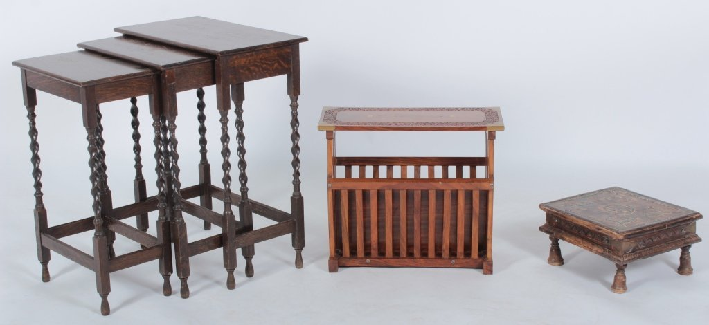 Three 19-20th C. Carved Wooden Occasional Pieces