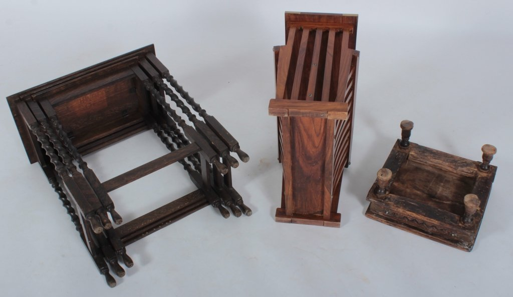 Three 19-20th C. Carved Wooden Occasional Pieces - 7