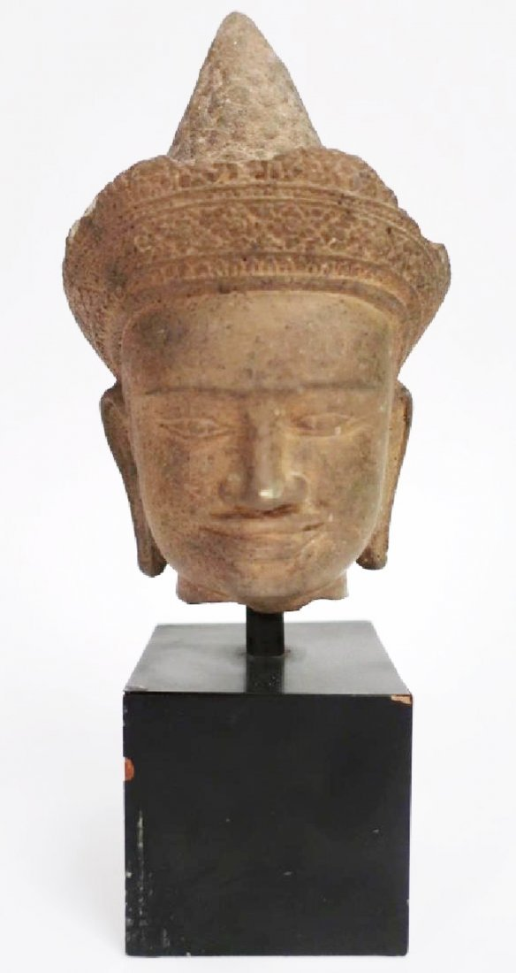 Khmer Carved Sandstone Head, c. 12th-13th C.
