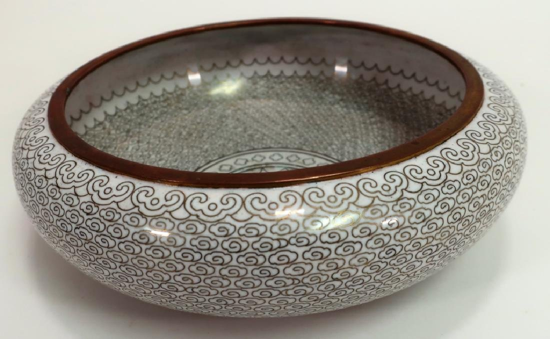 Japanese Cloisonne White and Copper Bowl