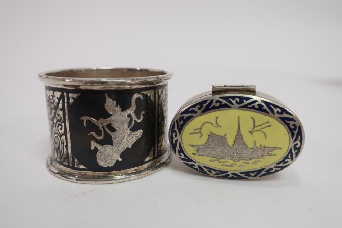Chinese Jue, Bowl, Goblet & Siamese silver - 3