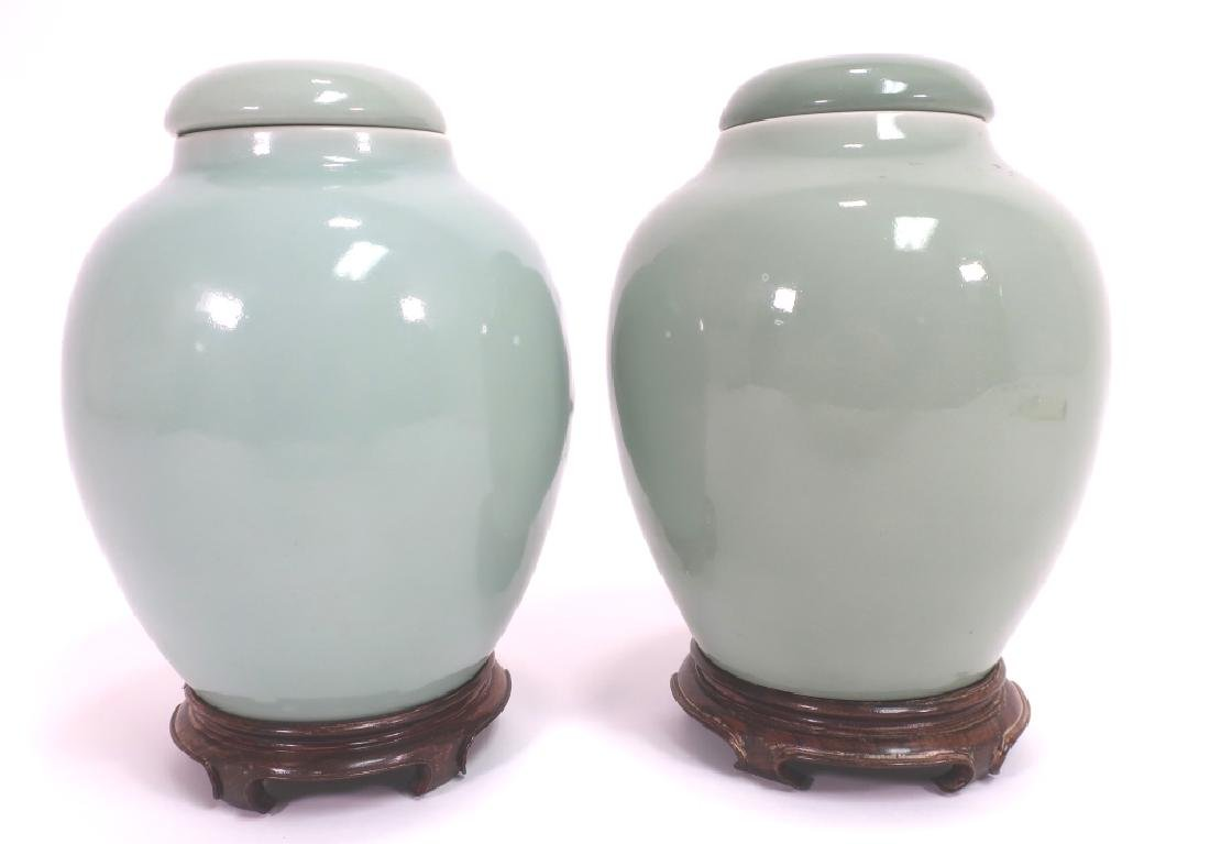 Pr. Chinese Porcelain Covered Jars
