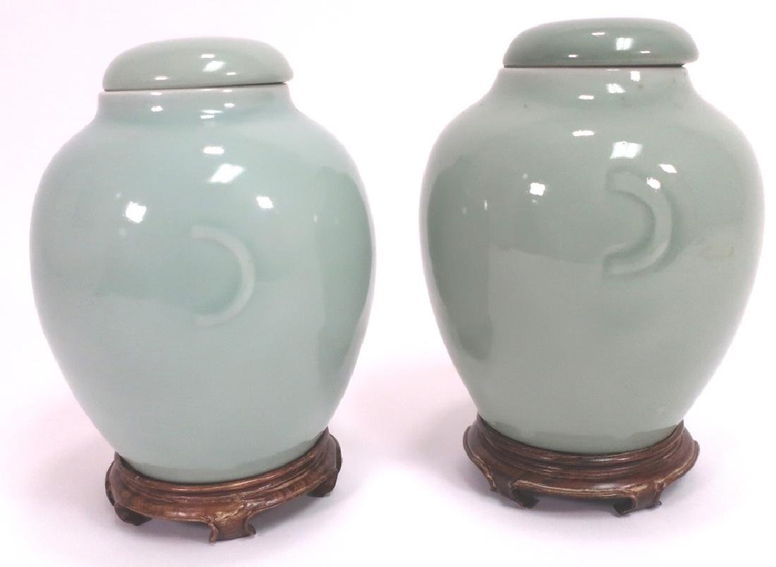Pr. Chinese Porcelain Covered Jars - 2