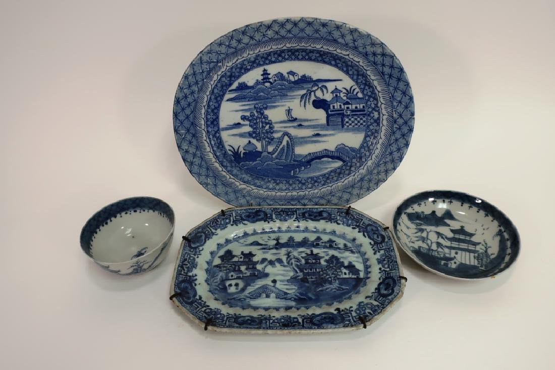 4 Chinese Export Ware Bowls & Platters, 18-19th C.