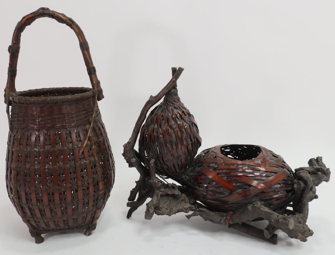 2 Japanese Ikebana Baskets, early 20th C.