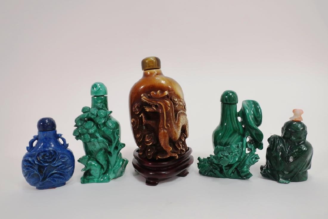 Group of Chinese Hardstone Snuff Bottles