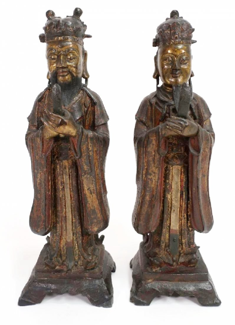Pair of Chinese Ming Dynasty Bronze Daoists