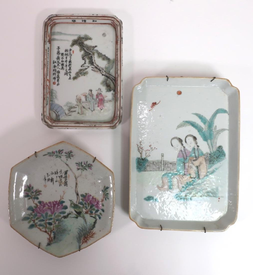 3 Chinese Porcelain Dishes, 19th c.