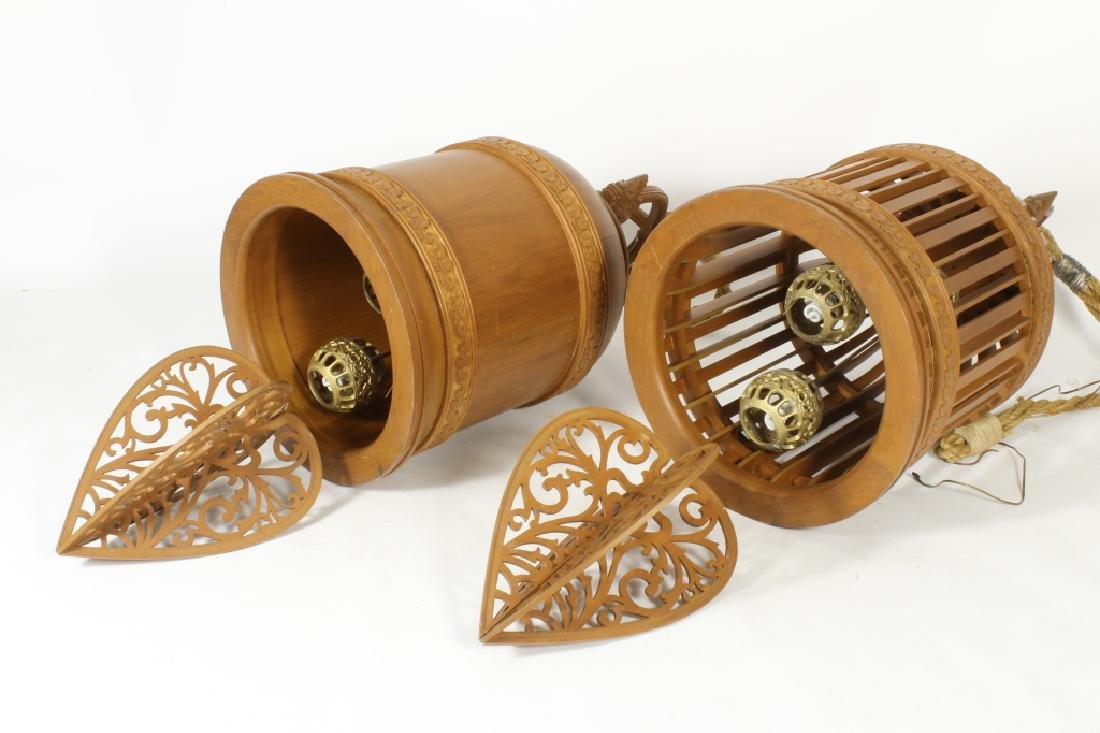 Two E. 20th C. S.E. Asian Wood Carved Bells - 11