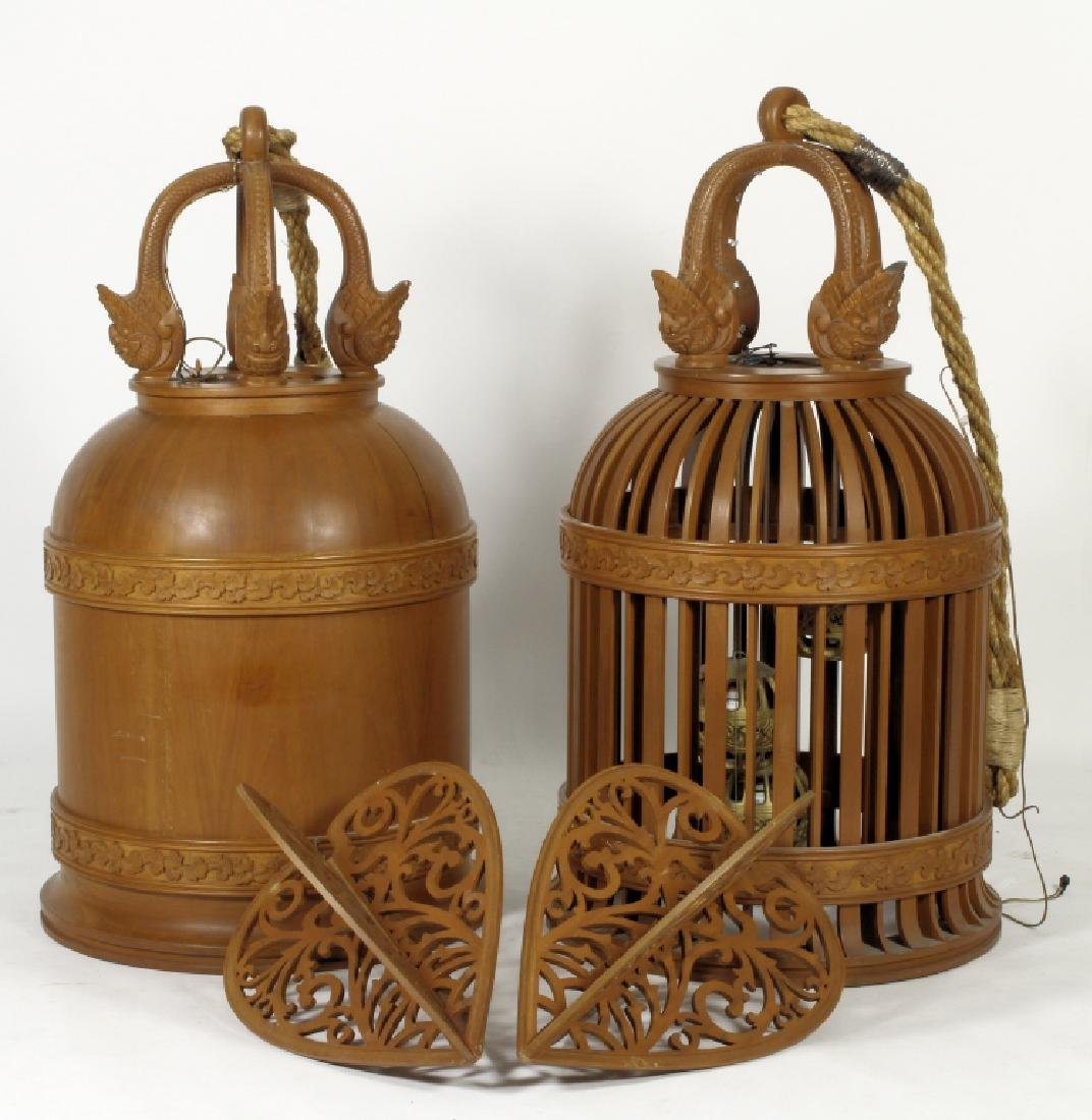 Two E. 20th C. S.E. Asian Wood Carved Bells