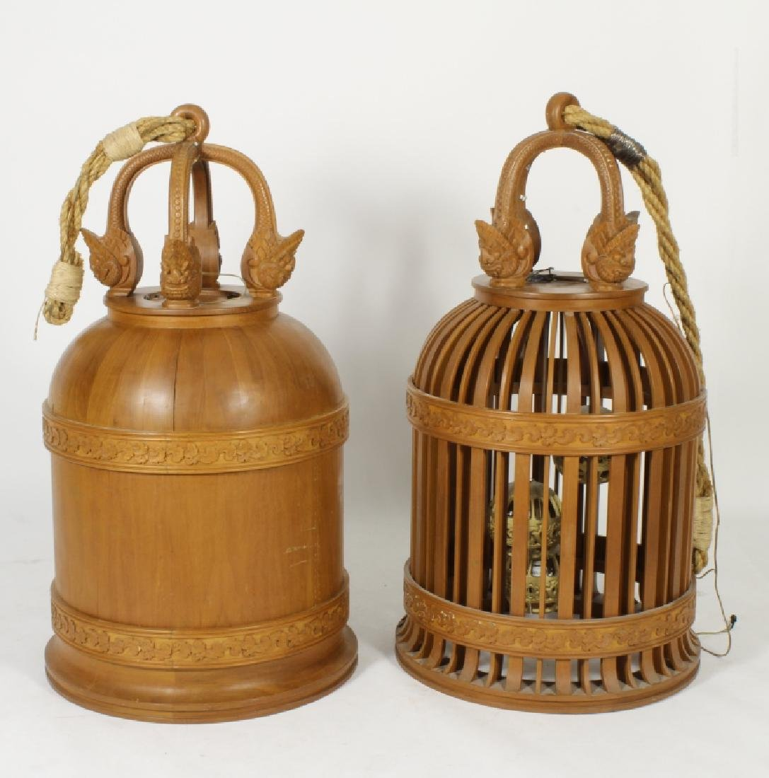 Two E. 20th C. S.E. Asian Wood Carved Bells - 2