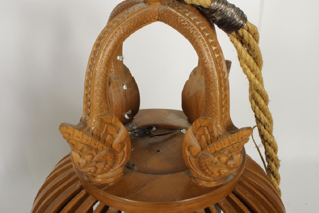 Two E. 20th C. S.E. Asian Wood Carved Bells - 3