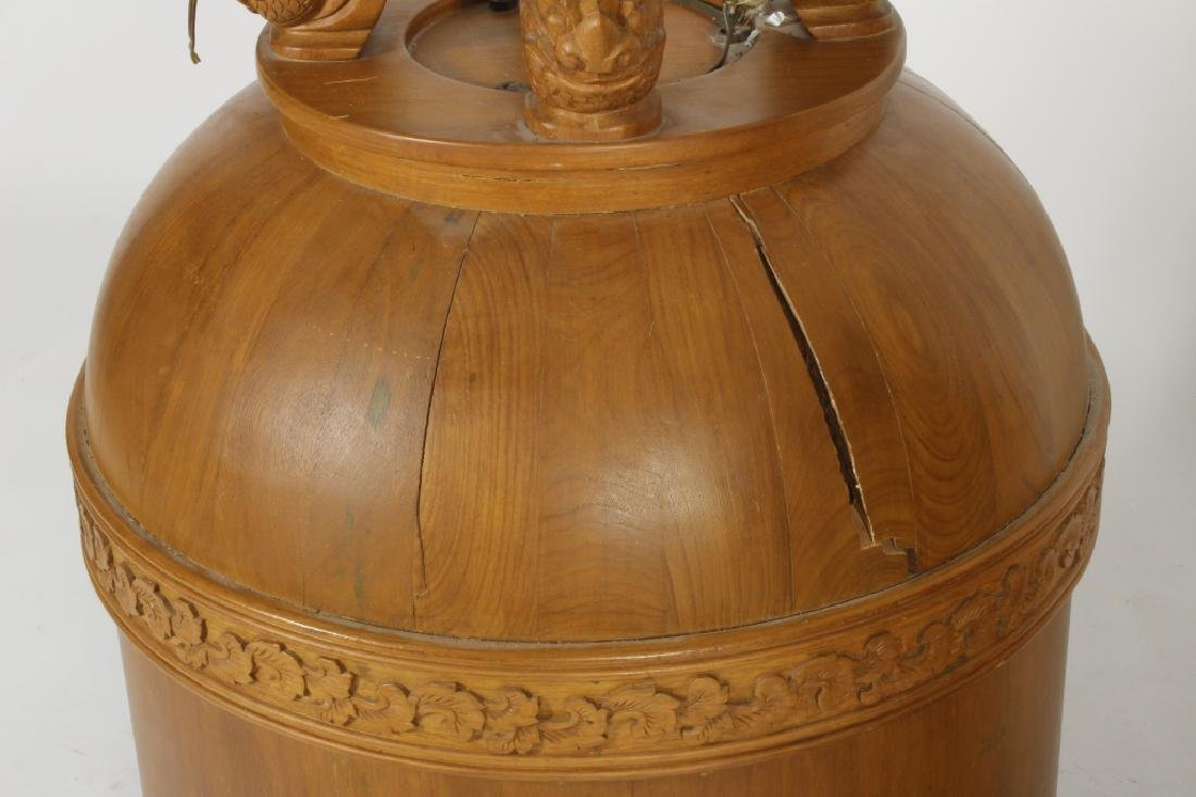 Two E. 20th C. S.E. Asian Wood Carved Bells - 4