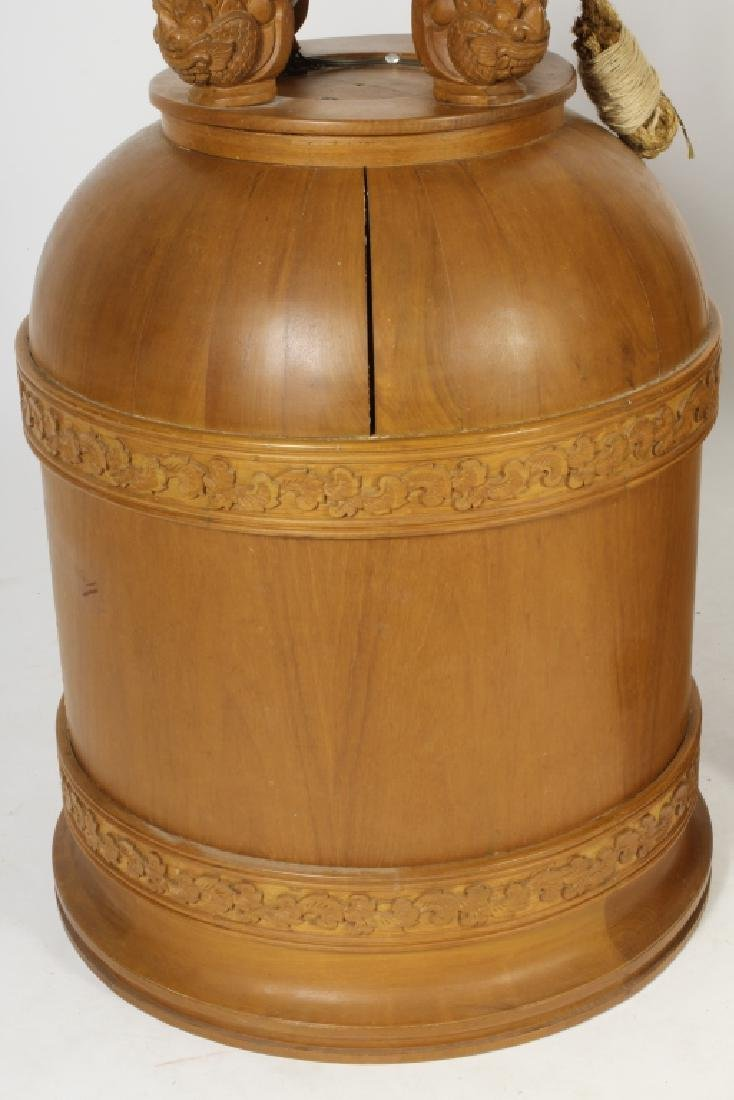 Two E. 20th C. S.E. Asian Wood Carved Bells - 5