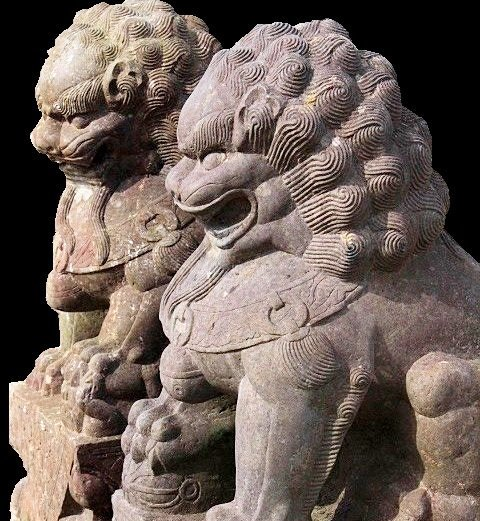 Large Stone Chinese Foo Lions, 19/20th C.