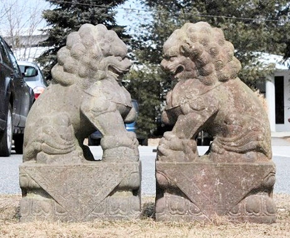 Large Stone Chinese Foo Lions, 19/20th C. - 2