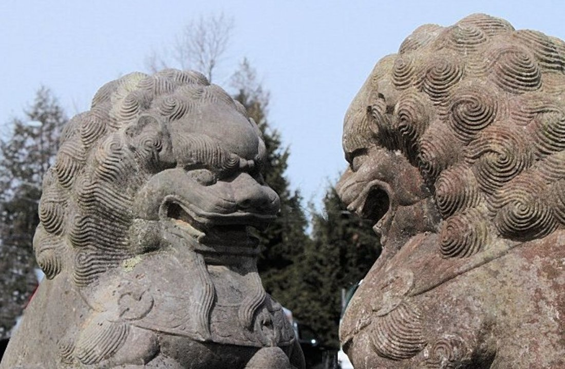 Large Stone Chinese Foo Lions, 19/20th C. - 3
