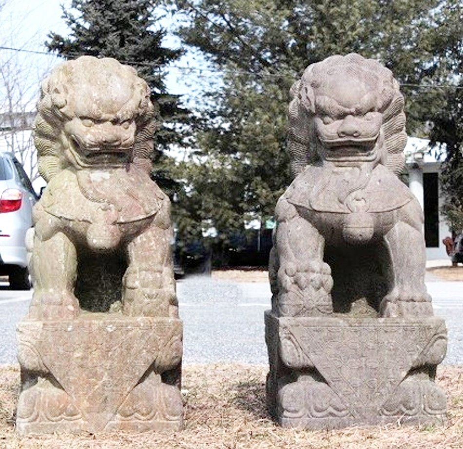 Large Stone Chinese Foo Lions, 19/20th C. - 5
