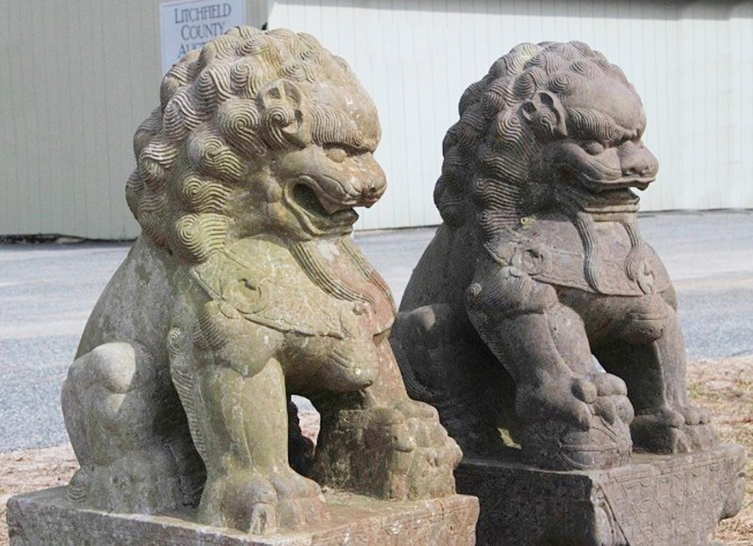 Large Stone Chinese Foo Lions, 19/20th C. - 6