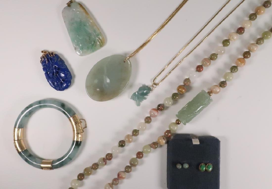 Lot of 8: 14 kt Gold Chinese Jade & Lapis Jewelry