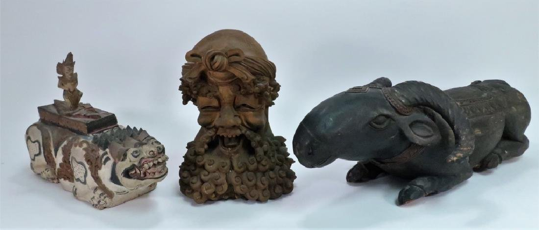 3 Asian Wood Carvings, Incl. Bust of Bearded Man
