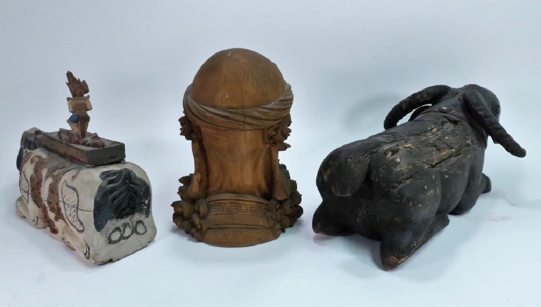 3 Asian Wood Carvings, Incl. Bust of Bearded Man - 2