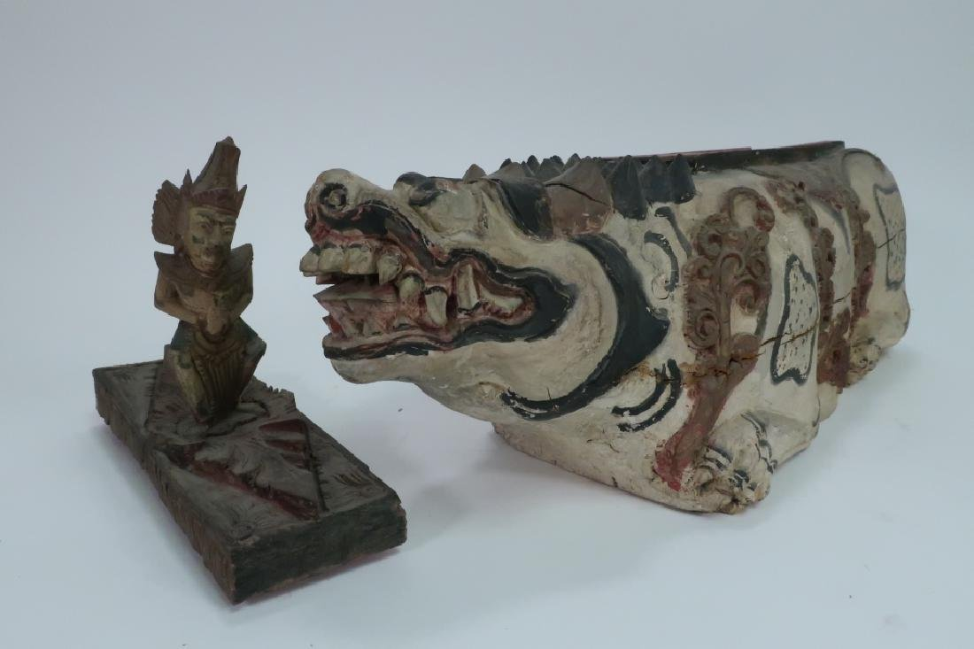 3 Asian Wood Carvings, Incl. Bust of Bearded Man - 4