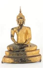 Large Thai Gilt Bronze Buddha, 18/19th  C.