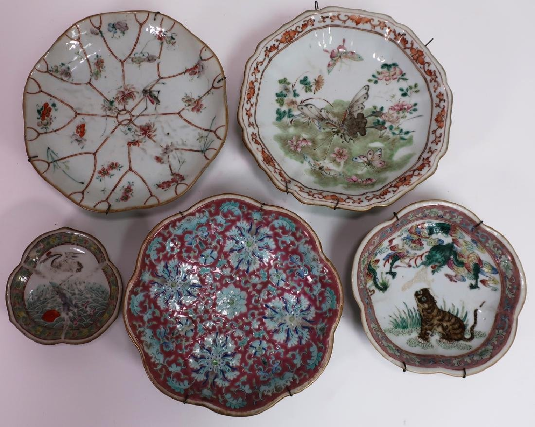 5 Chinese Porcelain Dishes, 19th c.