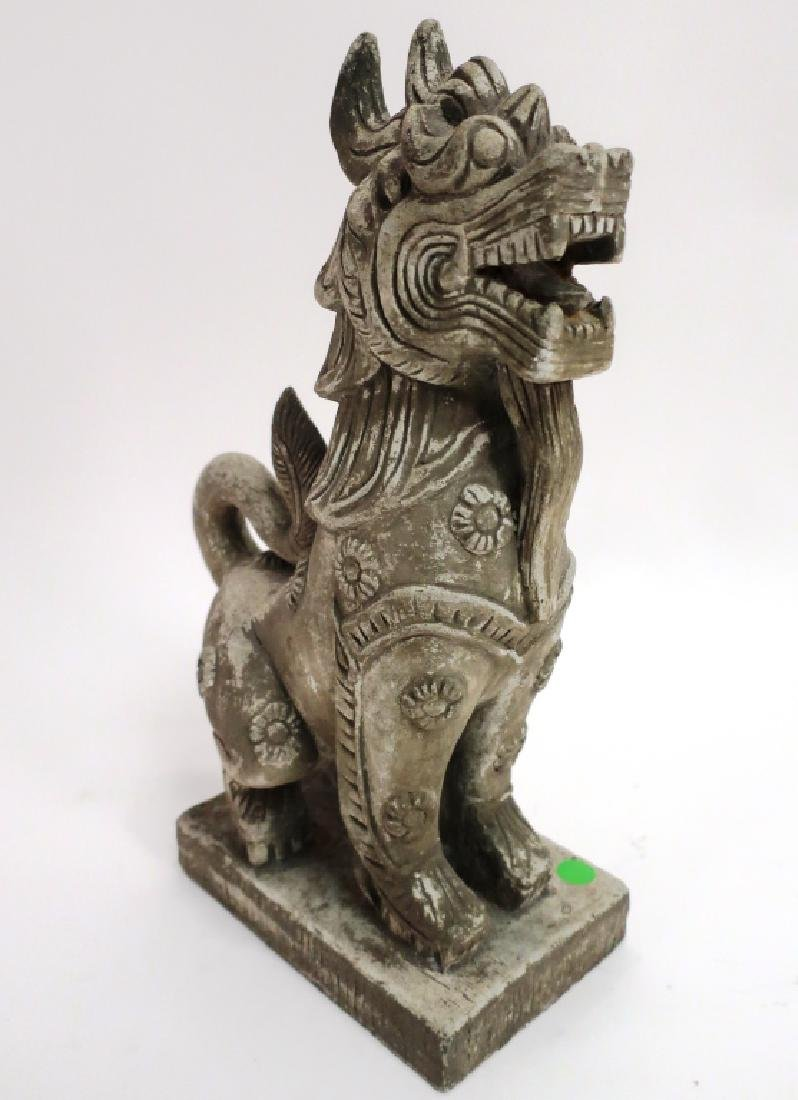 Chinese Carved Stone Buddhist Temple Lion