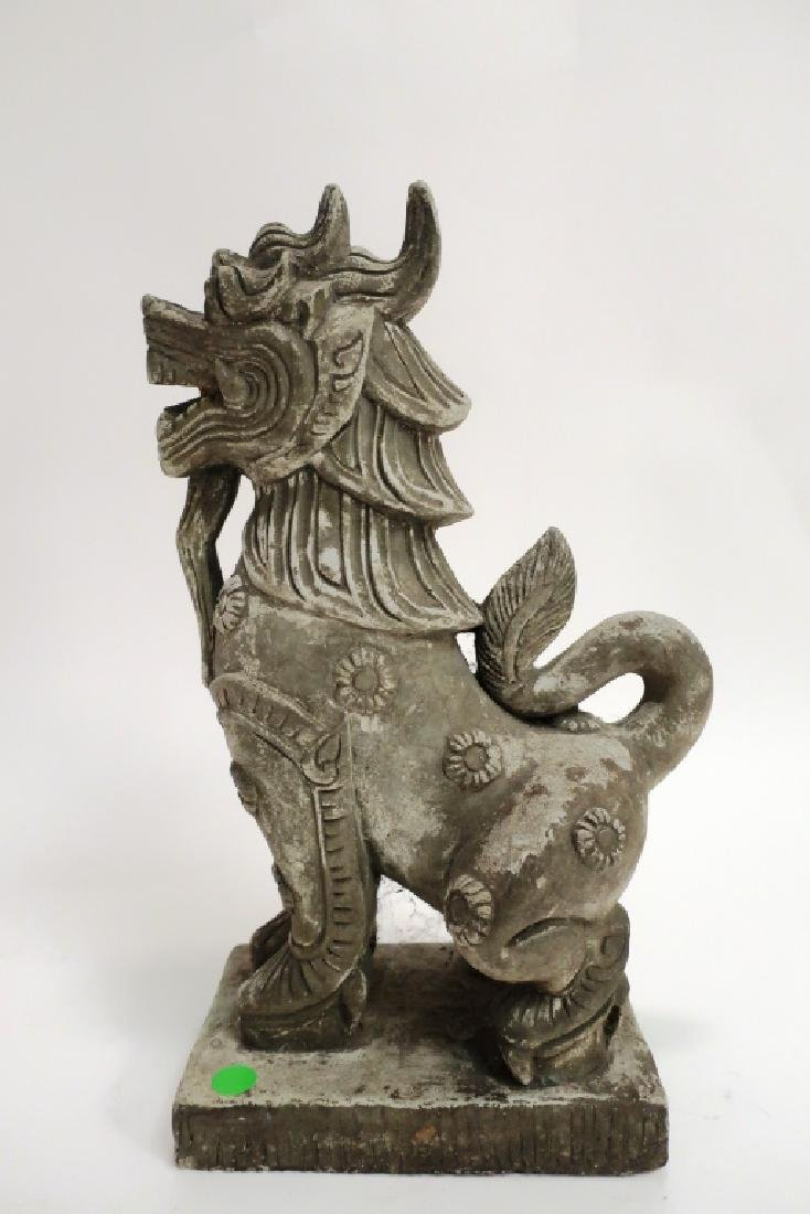 Chinese Carved Stone Buddhist Temple Lion - 3
