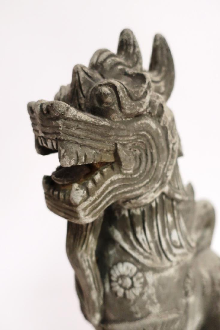 Chinese Carved Stone Buddhist Temple Lion - 4