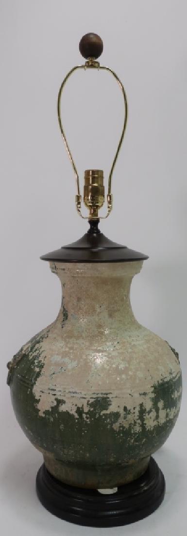 Asian Lamp White & Green Glazed Pottery Vase