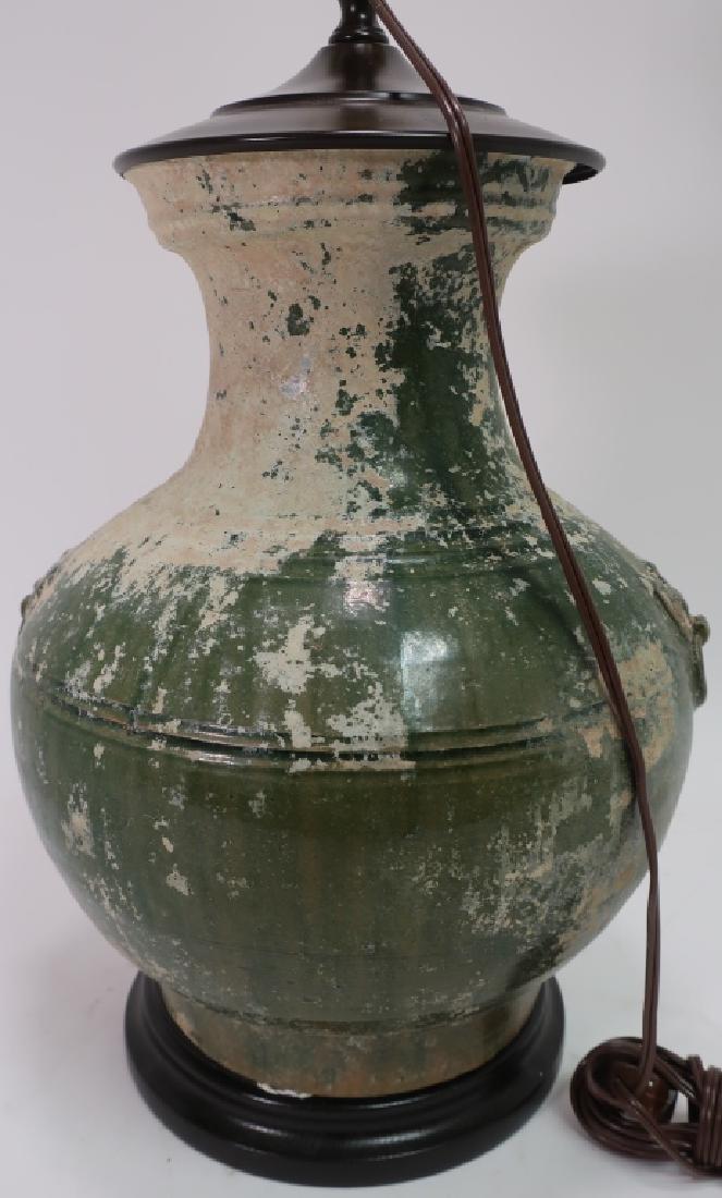 Asian Lamp White & Green Glazed Pottery Vase - 3