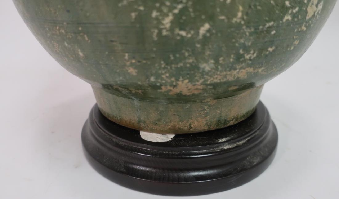 Asian Lamp White & Green Glazed Pottery Vase - 4